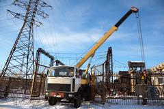 Elimination of the accident at an electrical substation Stock Photos