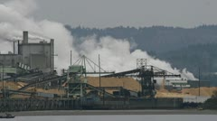 Steaming Industrial Facility Pulp Mill on the Columbia River Cloudy Day Stock Footage