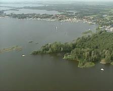 Aerial shot Loosdrechtse Plassen recreation area. Stock Footage