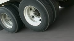 Eighteen-wheeler Truck Tires In Motion Stock Footage