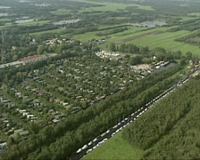 Aerial shot small parcels of peat landscape at Loosdrecht Stock Footage