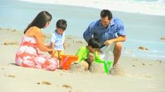 Latin American Family Beach Vacation Stock Footage