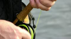 Part of Fishing Fly and Drawstring Stock Footage