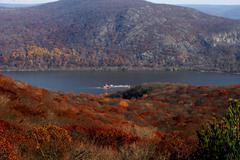 Autumn Hudson River Barge - stock photo