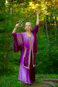 Woman elf with sword Stock Photos