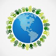 Go green diversity human hand american map Stock Illustration