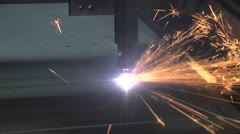 Close up of CNC plasma cutter with sparks - stock footage