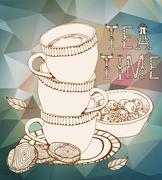 Vintage tea time background Stock Illustration