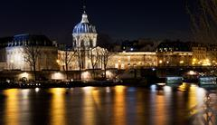 French academy in paris at night Stock Photos