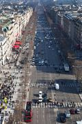 Above view of avenues des champs elysees in paris Stock Photos