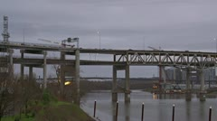 Portland Freeway Traffic over Marquam Bridge I5 North Bank Stock Footage