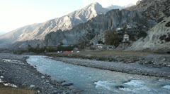 Himalyan river in the valley of Manang. Stock Footage