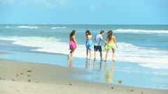 Caucasian Family Group Fun Ocean Shallows Stock Footage
