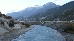 Himalayan river in the valley of Manang. Stock Footage