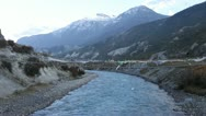 Stock Video Footage of Himalayan river in the valley of Manang.