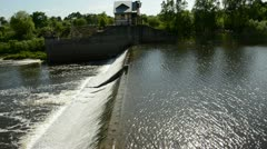 Summer river dam water overflow Stock Footage