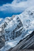 mountains not far gorak shep and everest base camp - stock photo