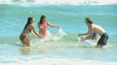 Happy Caucasian Family Group Splashing Sea Together Stock Footage