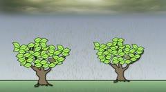 The impact of acid rain on trees - animation Stock Footage