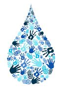 Stock Illustration of save water diversity hand shape