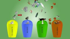 Waste Segregation and Recycling - Animation. - stock footage