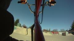 Stock Footage: Slow Motion POV BMX PARK Riding Stock Footage