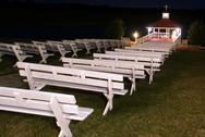 Outdoor wedding chapel at night Stock Photos