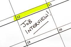 Job Interview Date on a Calendar Stock Photos
