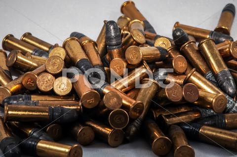 Stock photo of .22 bullet ammo background