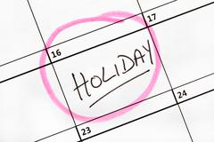Holiday Date Marked on a Calendar. - stock photo