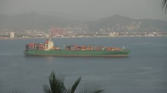 Ocean Freighter Anchored in Manzanillo Stock Footage