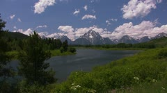 Clouds move over the mountains at Grand Tetons. Stock Footage