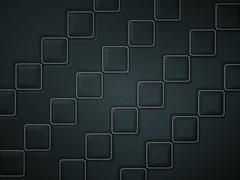 black stitched leather background with rhombuses - stock illustration