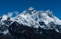everest, changtse, lhotse and nuptse peaks in himalaya - stock photo