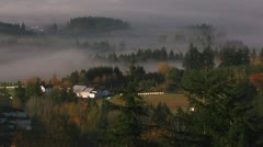 Fog hangs over the wine country of Oregon. Stock Footage