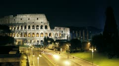 4k Timelapse - Coliseum at night (Rome, Colosseum ,Colosseo) Stock Footage