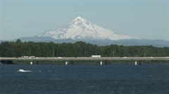 Traffic near Portland Oregon with Mt. Hood background. - stock footage