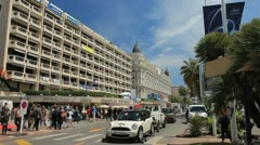 Cannes city during the film festival.  Evacuation of the car from the hotel. - stock footage
