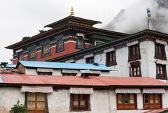 tengboche buddhist monastery in himalaya - stock photo