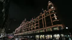 London Xmas 2012 Harrods Lights Stock Footage