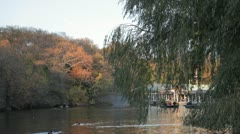 The Lake at Central Park with People on Boats Stock Footage