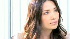 Head Shoulders Young Caucasian Businesswomen - stock footage