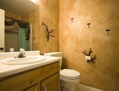 Interior shot of a bathroom with modern design Stock Photos