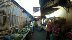 Fruit and vegetable market at Sibalom city in the Republic of the Philippines Stock Footage