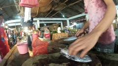 Local fish market at Sibalom city in the Republic of the Philippines Stock Footage