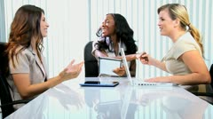 Multi Ethnic Advertising Executives Team Meeting Congratulations - stock footage