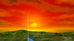 United States Flag Raising during Sunrise Stock Footage