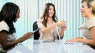 Female Caucasian Team Leader Congratulating Colleagues Stock Footage
