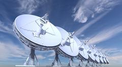 Radio telescopes on sky background Stock Illustration
