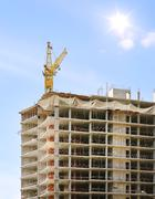 building crane and building - stock illustration
